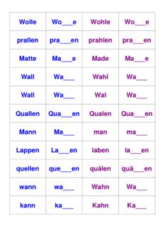 Vokaldifferenzierung kurzer und langer Vokal