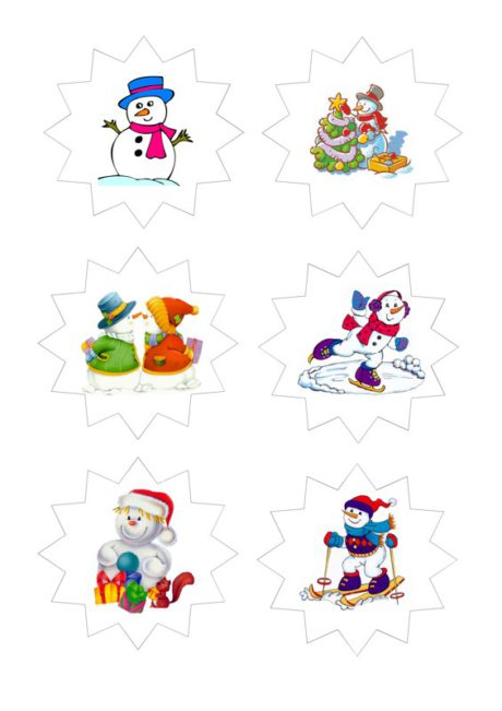 Bildkarten: Schneemänner