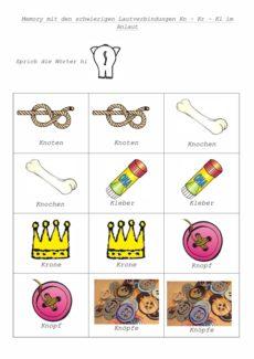 Konsonantenverbindungen mit K als Memory