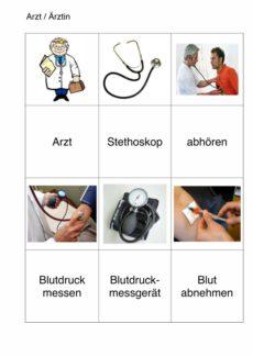 semantisches Arbeitsblatt für Aphasie-Patienten – Arzt