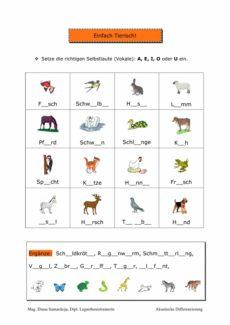 Vokale ergänzen: Einfach Tierisch