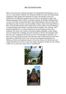 Text und Fragen zu Bali