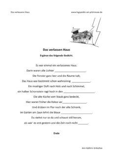 Gedicht ergänzen: Das verlassene Haus